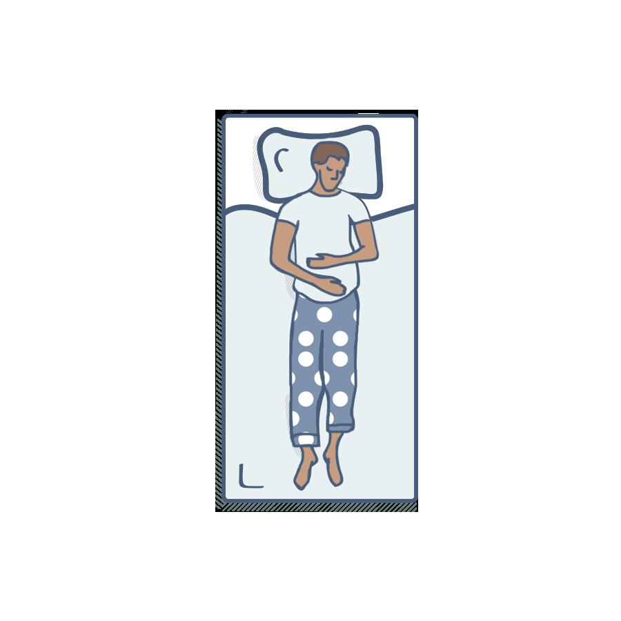 Illustration of man sleeping on bed