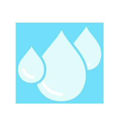 Illustration of three different size rain drops