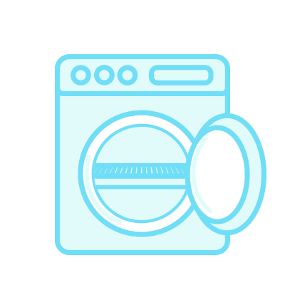 Illustration of a dryer with a dryer rack inside