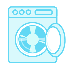 Illustration of a washer with a stainless steel wash tub