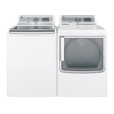 GE washer and dryer pair in white and stainless steel