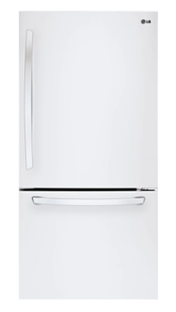 LG bottom freezer refrigerator in stainless steel
