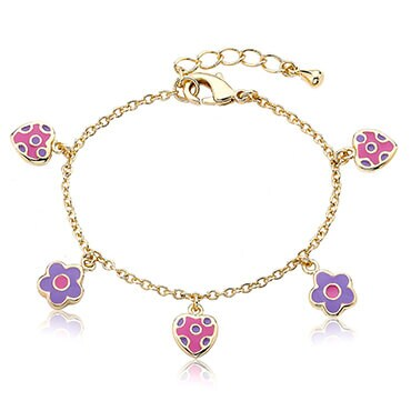 Gold baby bracelet with pink and purple flower charms on it