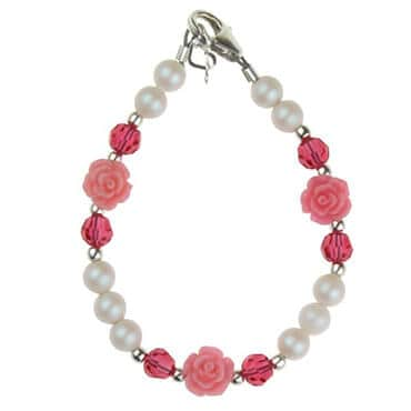 Pink and white beaded baby bracelet