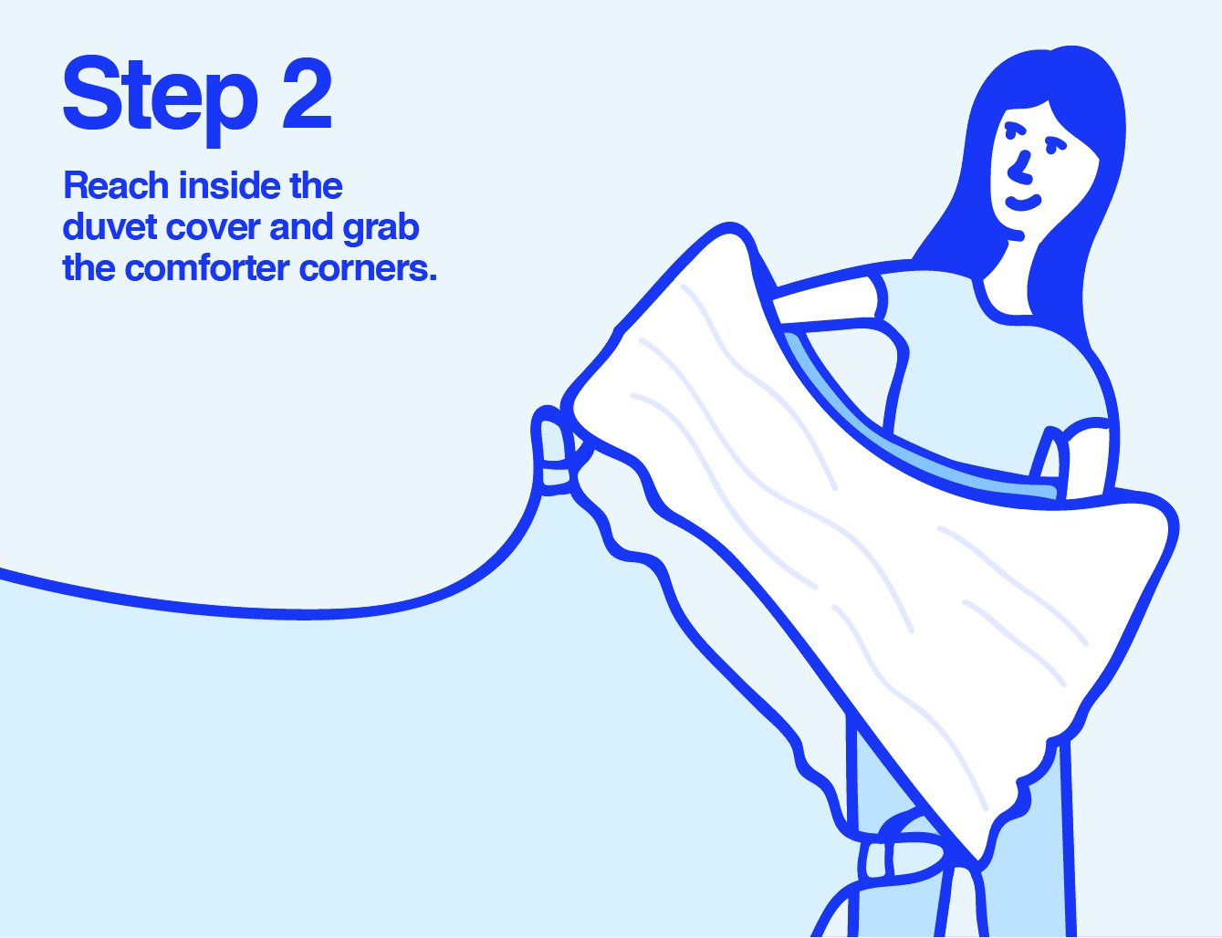 Info graphic of a woman placing a comforter into a duvet cover