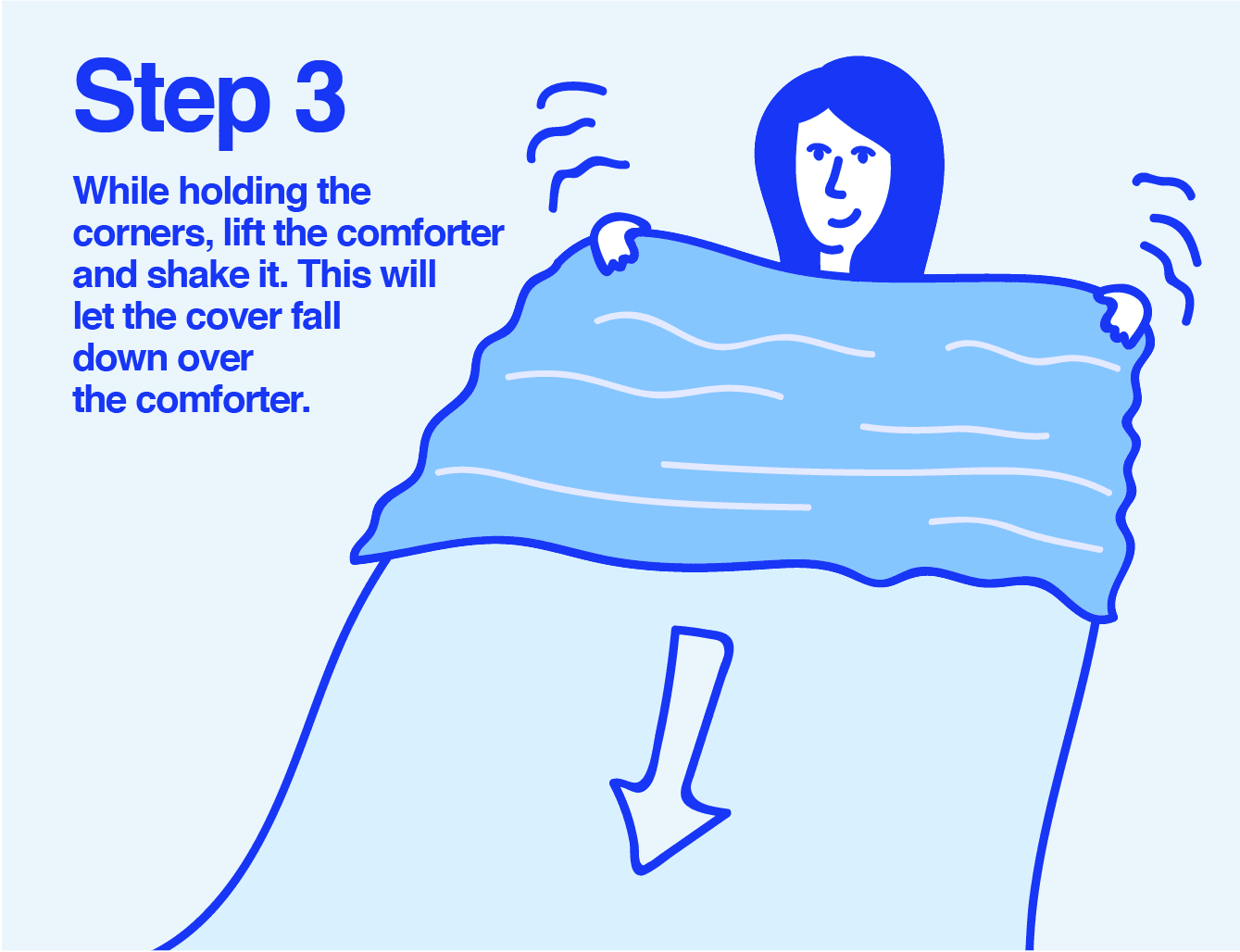 Info graphic of a woman shaking a duvet cover over top of a comforter