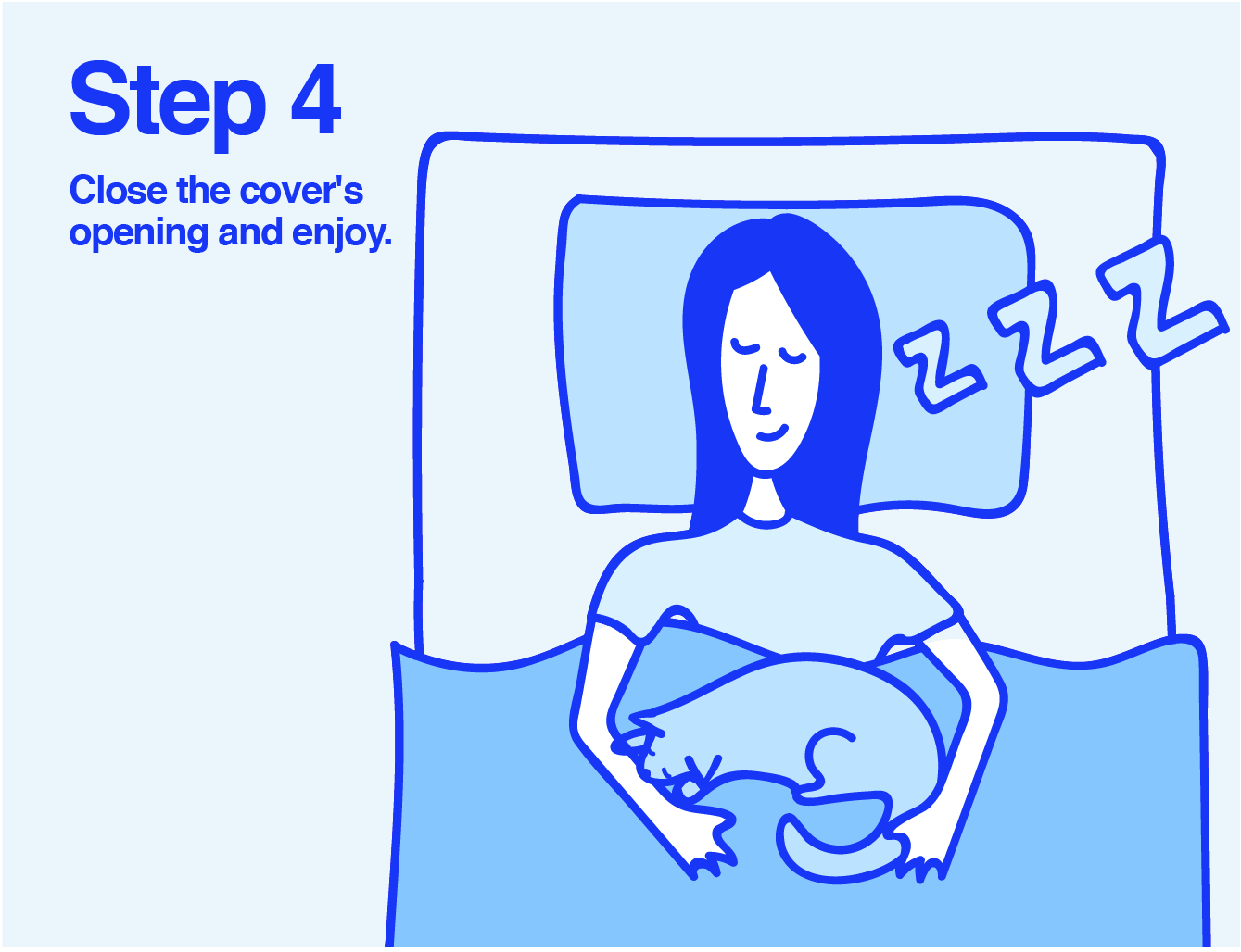 Info graphic of a woman sleeping in her bed with a cat on her lap
