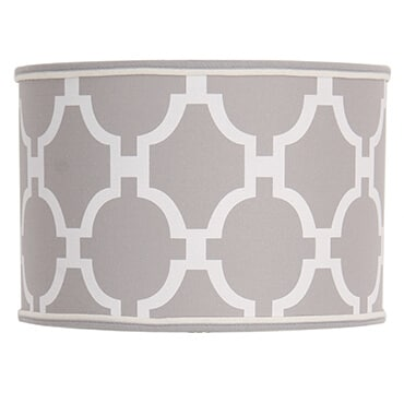 Grey and white geometric print drum lamp shade