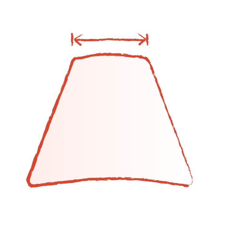 Illustration of the top diameter of a lamp shade being measured