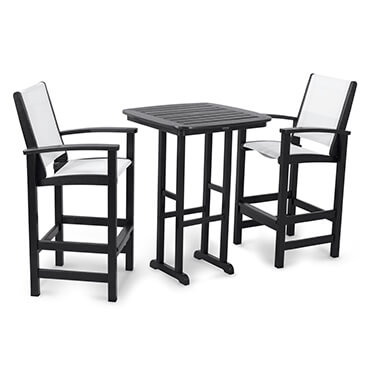 Three piece black and white outdoor bar set