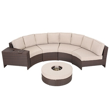 Tan and brown size piece outdoor sectional set