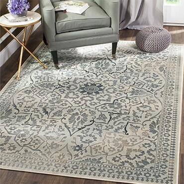 Vintage oriental rug in grey and crème