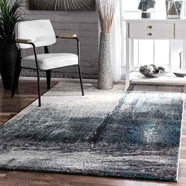 Blue, white and gray abstract modern rug