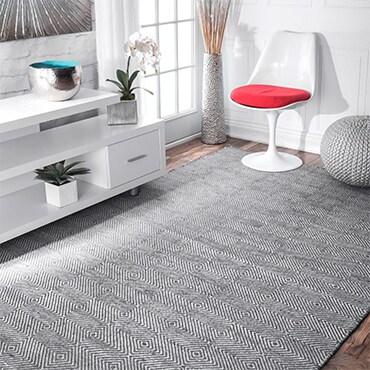 Grey and white diamond terllis patterened area rug