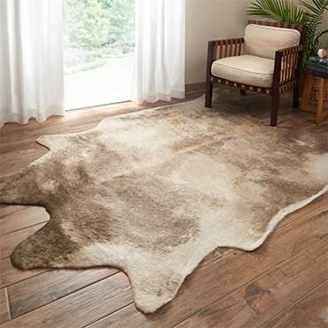 Beige rawhide rug in living room