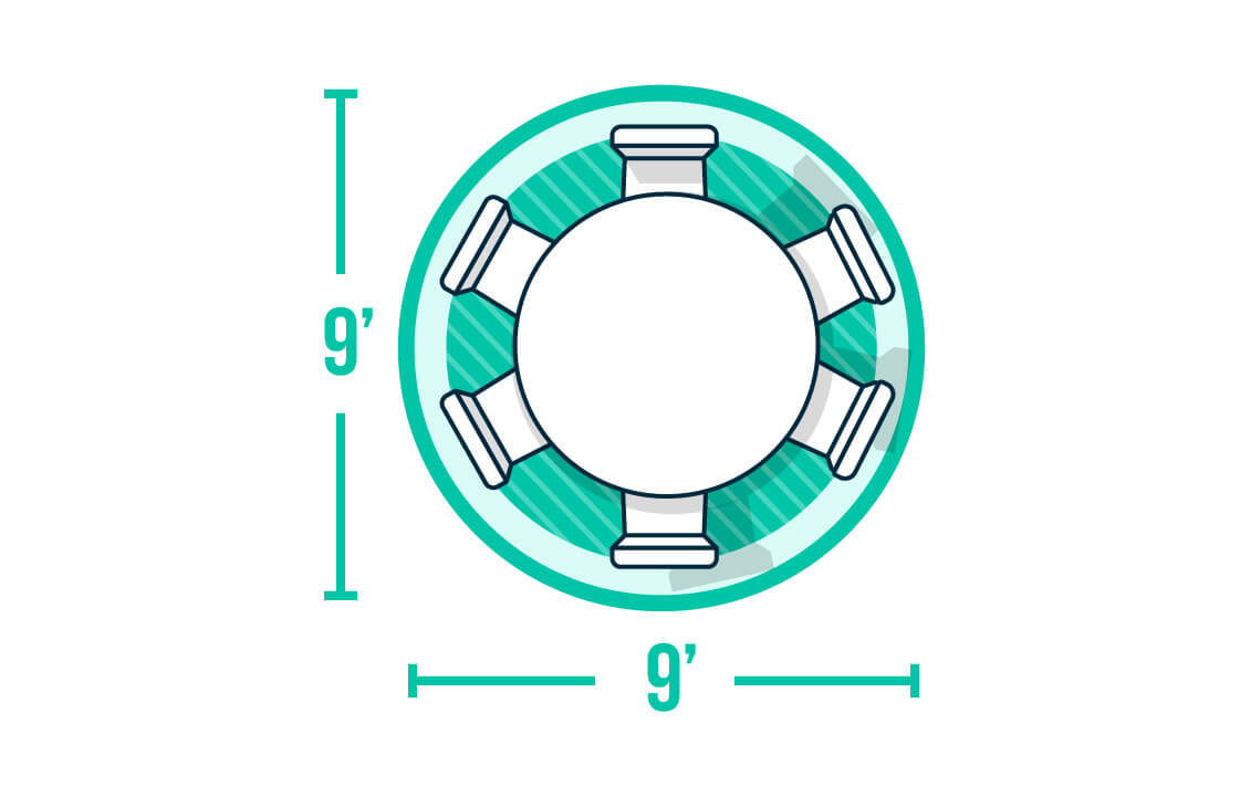 Infographic of round dining table on rug