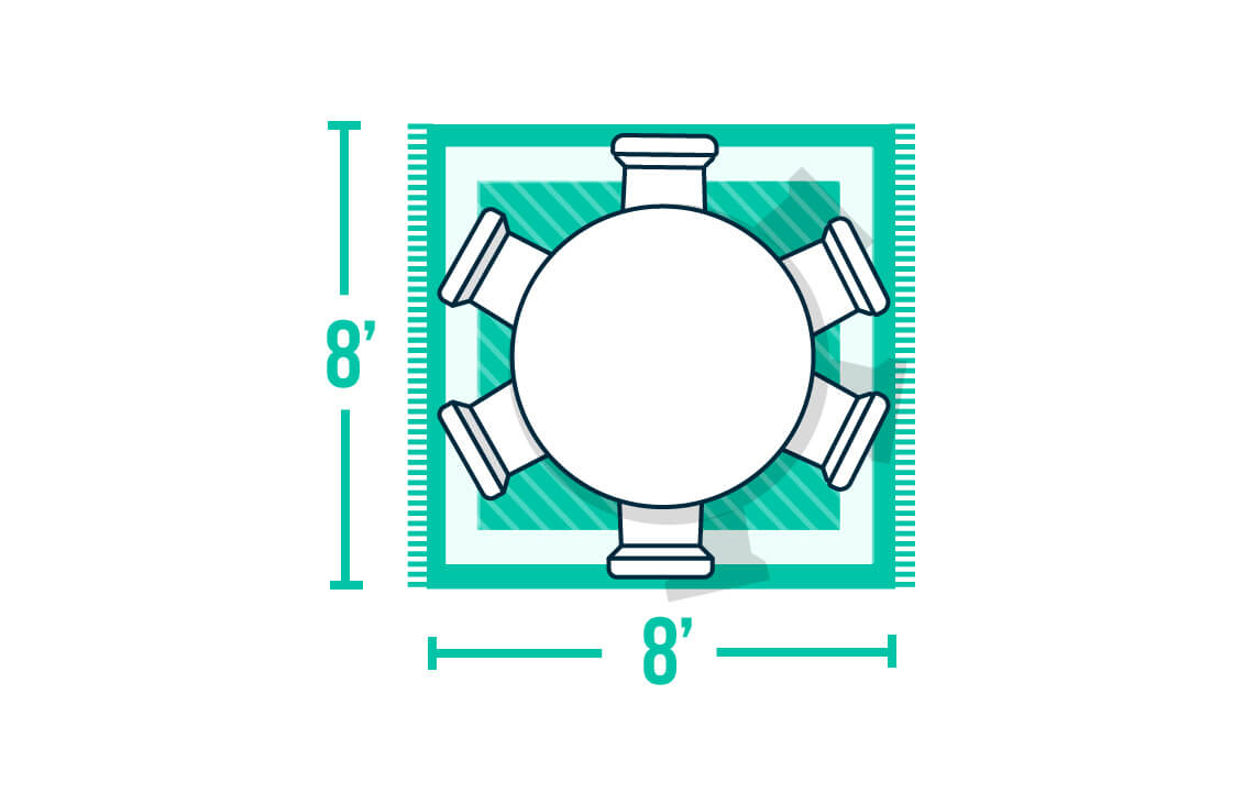 Infographic of dining table on rug
