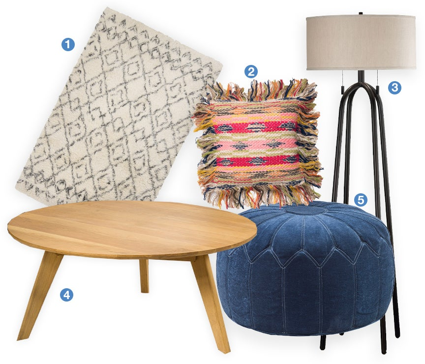 A collage of bohemian home decor products: an ikat shag rug, southwest throw pillow, floor lamp, mid-century coffee table, and a morrocan pouf