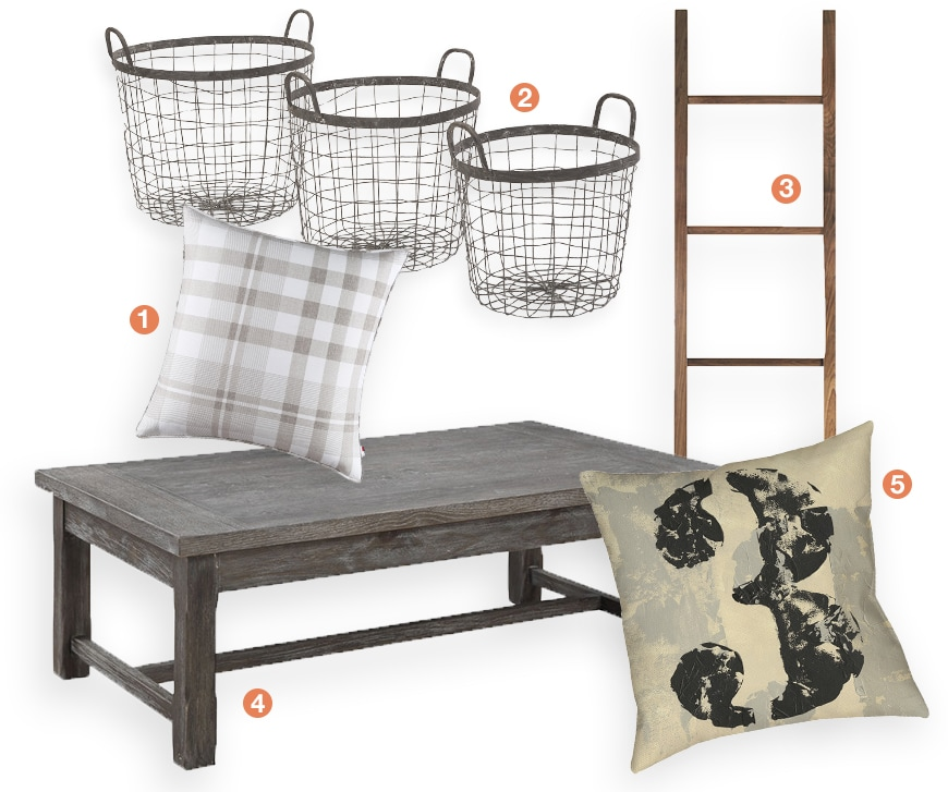 A collage of farmhouse home decor: a rustic farmhouse coffee table, wite baskets, plaid throw pillows, and a ladder
