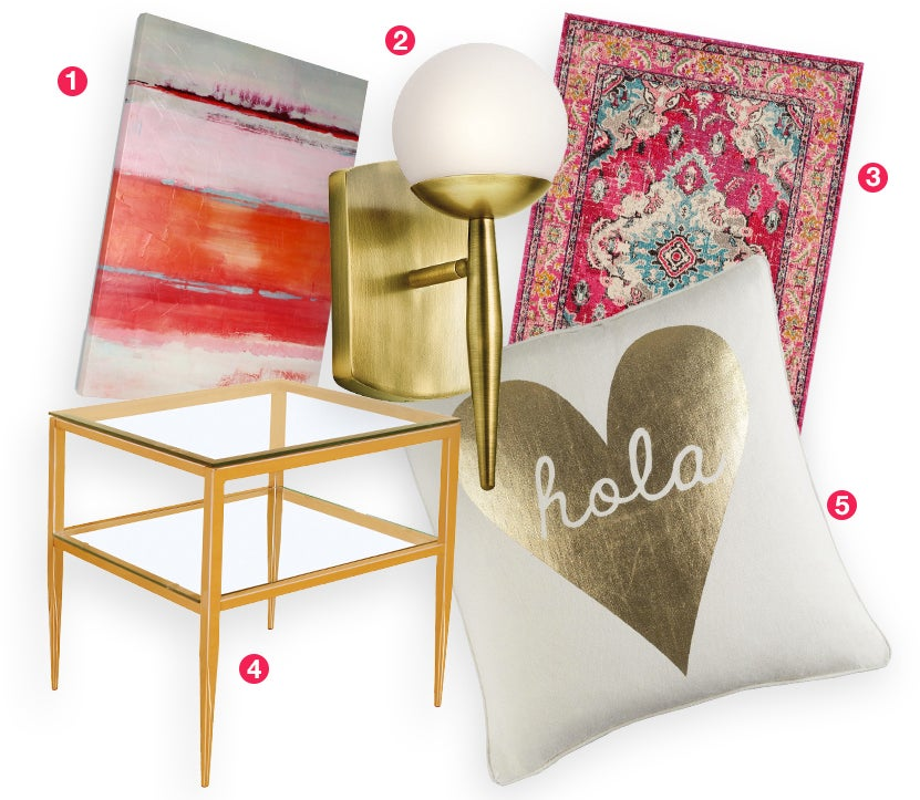A collage of glam home decor products: a pink area rug, gold sconces, gold side table, glam artwork, and a gold throw pillow