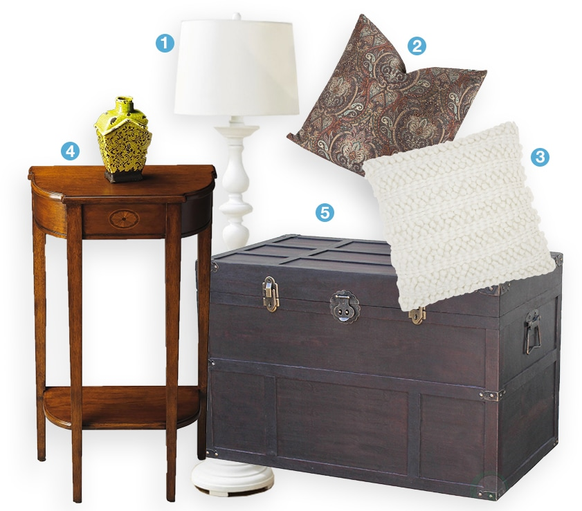 A collage of traditional home decor products: a floor lamp, brown trunk, a traditional wooden side table, and a paisley throw pillow