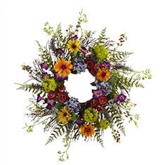 Spring Garden and Twig Floral Wreath