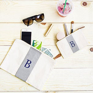 Monogrammed Canvas and Leather Clutch Set