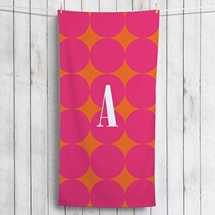 Pink Polka Dots Monogrammed Beach Towel
