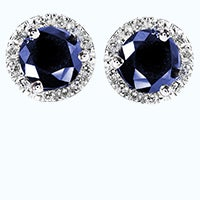 Round blue sapphire earrings in a halo setting