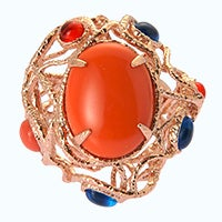 18k rose gold plated coral oval ring