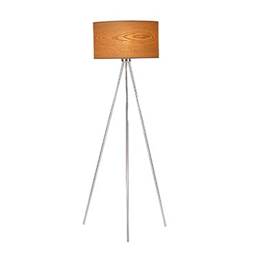 Silver tripod floor lamp with with wood veneer shade