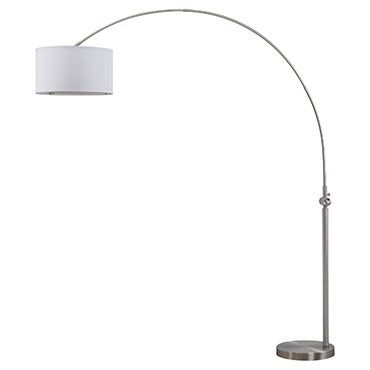 Silver arc floor lamp with white shade