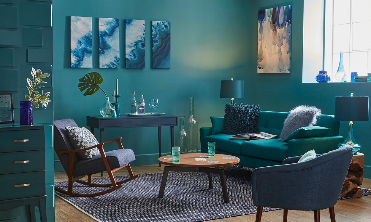 Teal Blue Living Room Using Monochromatic Color Schemes At Home Overstockcom