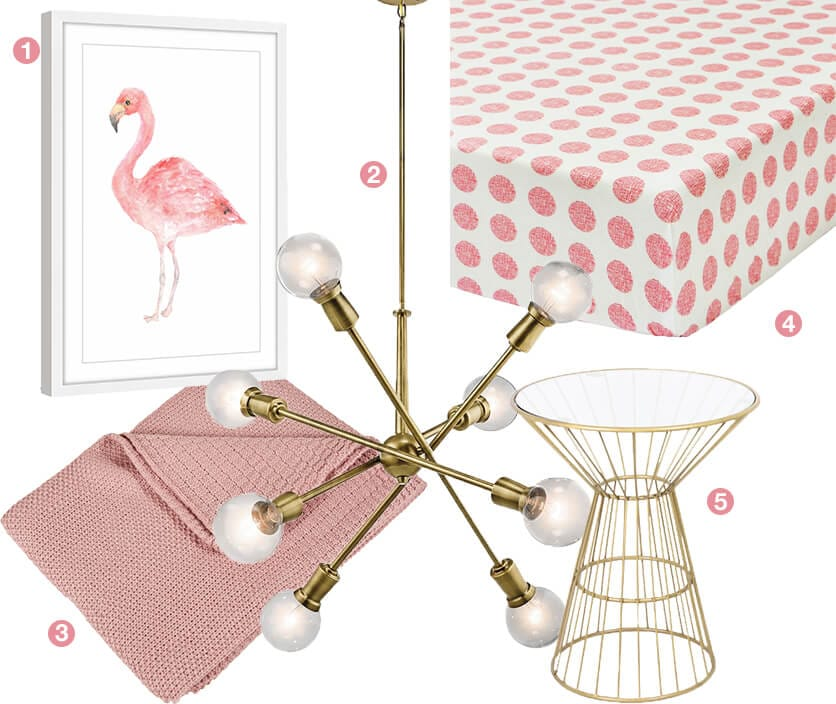 A collage of baby girl nusery items; a pink flamingo wall art, a gold chandelier, pink polka dot crib sheets, a gold side table, and a pink baby blanket