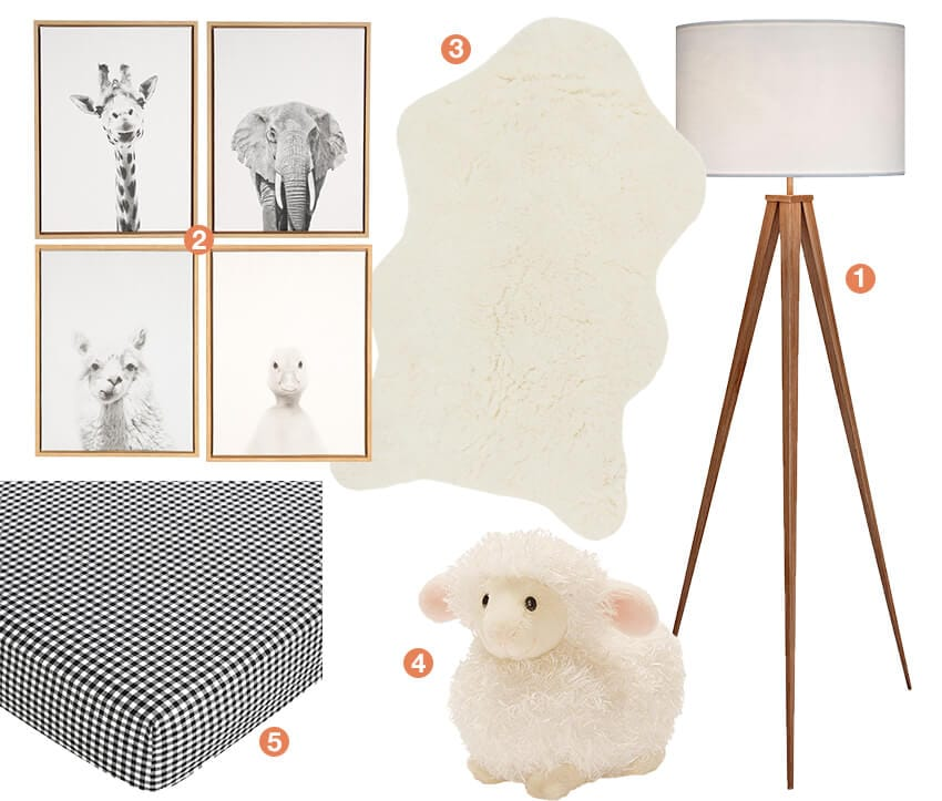 A collage of gender-neutral baby nursery items; a collection of black and whtie animal wall art, a baby lamb stuffed animal, black and white gingham crib sheets, a faux fur rug, and tri-pod floor lamp