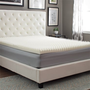 Close up of mattress topper on bed