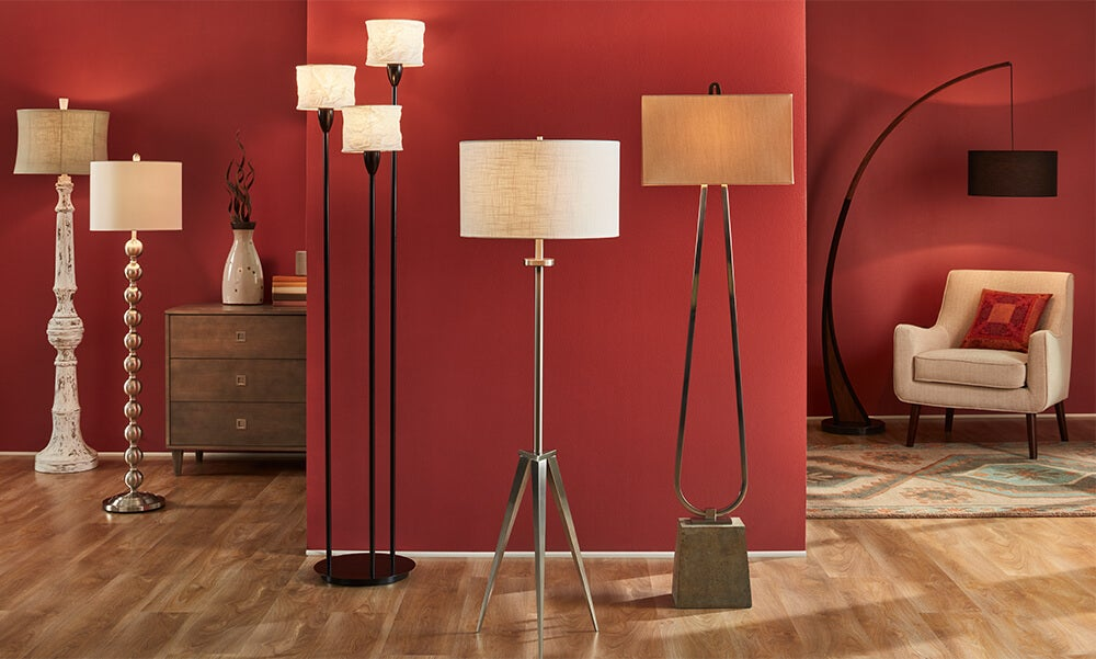 A collage of floor lamps