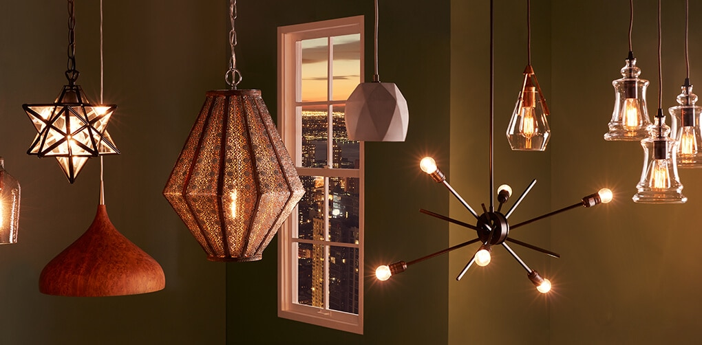 A collage of chandeliers and pendants
