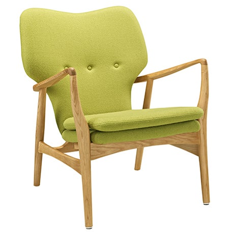 A lime green Mid-Century Modern accent chair