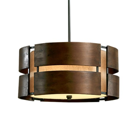 A curved wooden 3 light walnut pendant