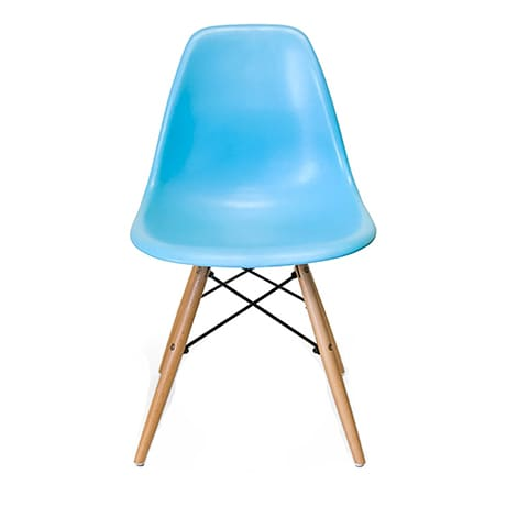 Light blue Eames style molded plastic side chair with wood base legs