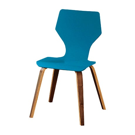 Teal blue plastic dining chairs with Mid-Century Modern wooden legs