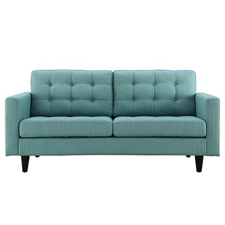 A teal blue linen Mid-Century Modern sofa