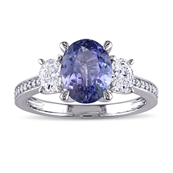 14K white gold engagement ring with oval tanzanite with two oval diamonds on each side