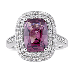 Cushion cut spinel gemstone white gold ring in a double halo setting
