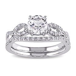 10k white gold bridal set ring with round cut white sapphire stone