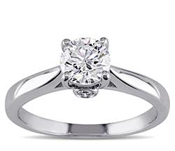 White gold round solitaire diamond ring
