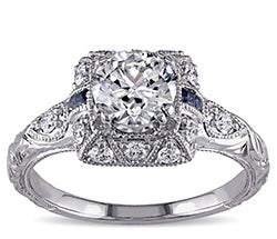 White gold with sapphire and diamond vintage engagement ring