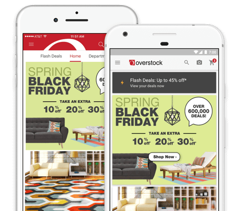 Deals anytime  anywhere with the Overstock   iOS   Android Apps. Mobile Apps   Overstock com