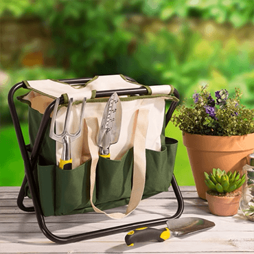 Garden stool with garden tools